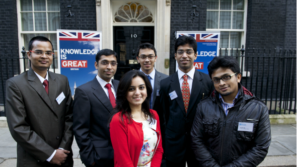 Priyank with the other Jubilee Scholars outside Number 10 (image credit: Frank Noon)