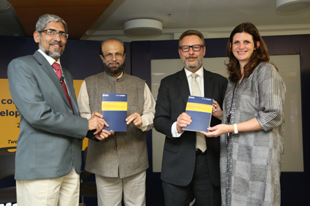 From left: Prof Amol Padwad, Prof Santosh Panda, Rob Lynes and Alison Barrett launched the global publication Continuing Professional Development for English Language Teachers in Delhi on 28 November.