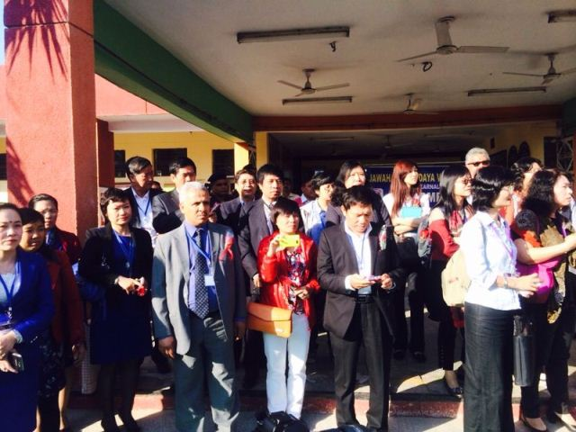 Schools Inward Study Visit Delegates from Taiwan, Vietnam and Saudi Arabia at the JNV School, Karnal.