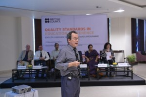 ELT expert George Pickering addresses a session the Quality Standards conference in Delhi