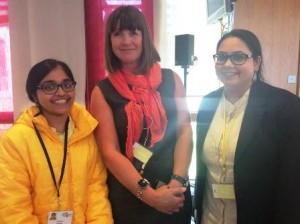 Sarah Zia (left) and fellow delegate Sweta Goswami (right) with Sue Turton from AL Jazeera