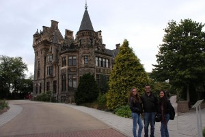 Sayan at the Pollock Halls of Residence with delegates from Lebanon