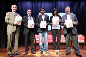 Launching the Technology for professional development report at British Council New Delhi. From left to right: Michael Connolly, Assistant Director English Partnerships British Council India, Chris Brandwood, Director English British Council South Asia, Bhanu Potta, Founding Partner ZingerLabs, Nirupa Fernandez, Assistant Director English Language Services British Council India, Rob Lynes, Director British Council India.