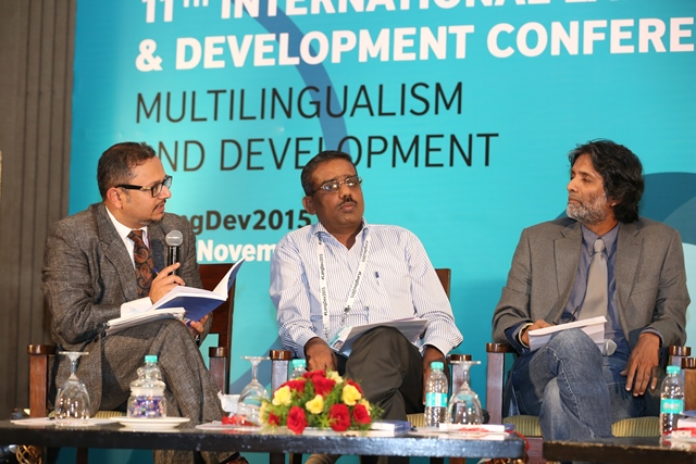 From left to right: Session chair Debanjan Chakrabarti with Francis Thevanesan Croos, Sasanka Perera