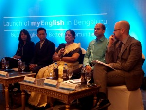 The panellists discuss 'Better English, Better Opportunities' at the myEnglish launch event in Bengaluru