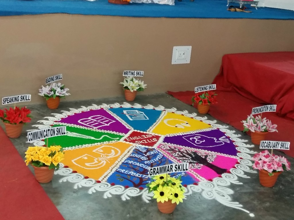 A traditional rangoli reworked to illustrate the elements of English language teaching