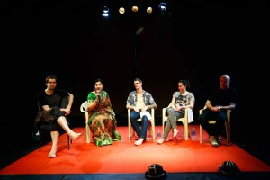 Artiste Dan Daw (middle) in a post-show discussion with Dr Ambika Kameshwar (second from left) in Chennai