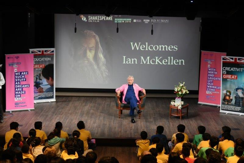 Ian Mckellen addresses school children at the BD Somani school, Mumbai