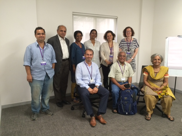 Back row (from left to right): Rajarshi Singh, Pratham; Prof Ganesh Devy (People's Linguistic Survey of India); Prof Minati Panda (Jawaharlal Nehru University); Dr Lina Mukhopadhyay (EFL-U); Prof Ianthi Tsimpli (Univ of Cambridge); Prof Jeanine Treffers-Daller.  Front row (from left to right): Prof Theo Marinis; Prof Ajit Mohanty (retired from JNU); Prof Rama Mathew (Delhi University)