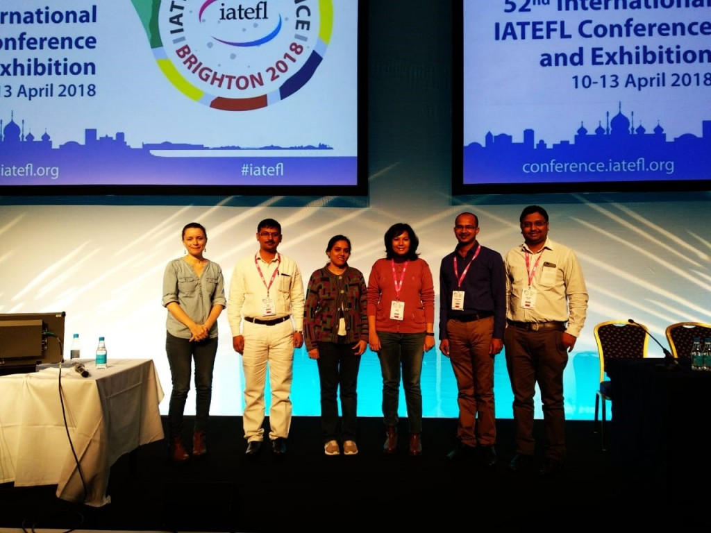 Representatives from British Council India's delegation to IATEFL (L-R): Amy Lightfoot; Nagesh Lohare; Urvi Shah; Radhika Gholkar; Ashok Chavan; Nisar Shaikh.
